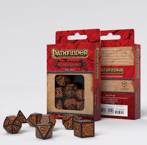 Conjunto com 7 dados RPG Pathfinder Hell's Vengeance Q-Workshop