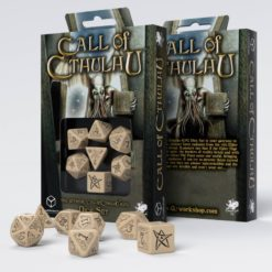 Conjunto com 7 dados Call Of Cthulhu Bege e Preto - Q-Workshop