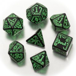 Conjunto com 7 dados Call Of Cthulhu Preto e Verde - Q-Workshop