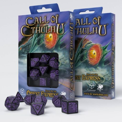 Conjunto com 7 dados Call Of Cthulhu Horror On The Orient Express - Q-Workshop