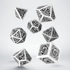 Conjunto com 7 dados RPG Celtic Branco - Q-Workshop