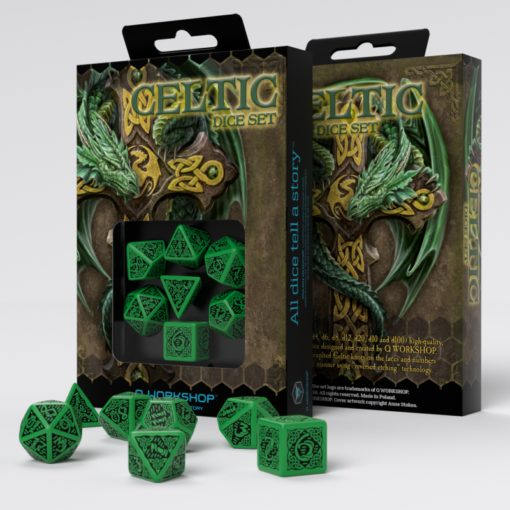 Conjunto com 7 dados Celtic Verde - Q-Workshop