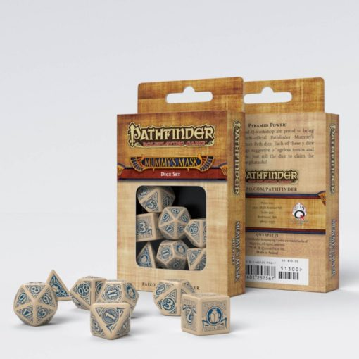 Conjunto com 7 dados RPG Pathfinder Mummy's Mask - Q-Workshop